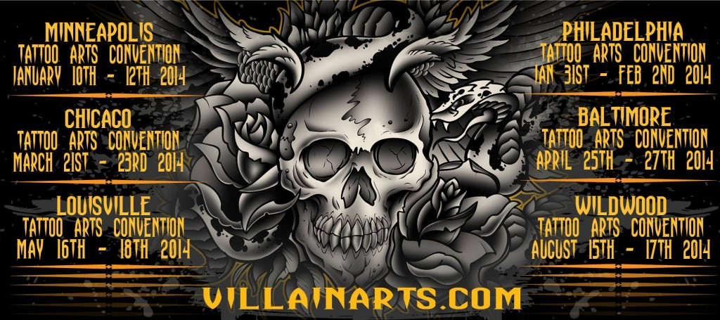 Villain Arts Tattoo Conventions 2014 1024x455 Chicago Tattoo Arts Convention